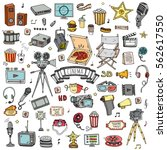 hand drawn doodle cinema set....   Shutterstock .eps vector #562617550