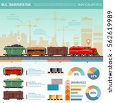 freight trains wagons flat... | Shutterstock .eps vector #562619989