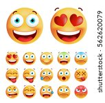 set of cute emoticons on white... | Shutterstock .eps vector #562620079