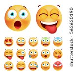 set of cute emoticons on white... | Shutterstock .eps vector #562620190