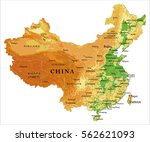 china relief map | Shutterstock .eps vector #562621093