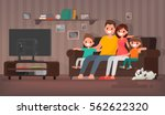 happy family watching... | Shutterstock .eps vector #562622320