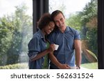 romantic happy young... | Shutterstock . vector #562631524