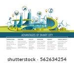 smart city flat. cityscape... | Shutterstock .eps vector #562634254