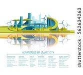 smart city flat. cityscape... | Shutterstock .eps vector #562634263
