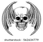 a winged skull bat or dragon...   Shutterstock .eps vector #562634779