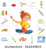 seamstress girl and sewing or... | Shutterstock .eps vector #562640824