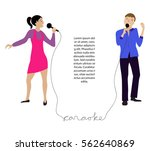 woman and man singing into...   Shutterstock .eps vector #562640869