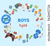 boy toy cars and road signs on... | Shutterstock .eps vector #562642726