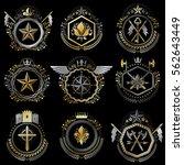 heraldic decorative emblems...   Shutterstock .eps vector #562643449