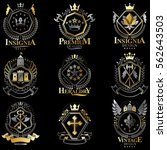 heraldic coat of arms created... | Shutterstock .eps vector #562643503