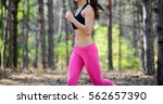 young woman running on the...   Shutterstock . vector #562657390
