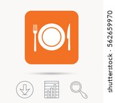 dish  fork and knife icons.... | Shutterstock .eps vector #562659970