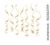 gold curly ribbon serpentine... | Shutterstock .eps vector #562662559