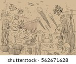 coral reef with underwater... | Shutterstock .eps vector #562671628