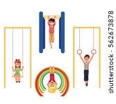 kids  children at playground ... | Shutterstock .eps vector #562673878