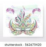 patterned mask on the grunge... | Shutterstock .eps vector #562675420