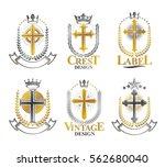 christian crosses emblems set.... | Shutterstock .eps vector #562680040