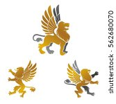 winged lion ancient emblems... | Shutterstock .eps vector #562680070