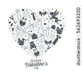 valentines day decorative... | Shutterstock .eps vector #562693330