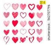 Set Of Hand Drawn Hearts....