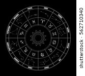 zodiac circle with astrology... | Shutterstock .eps vector #562710340