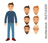 the young guy in jeans a... | Shutterstock .eps vector #562713103