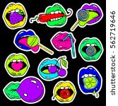 colorful fun set of female lips ...   Shutterstock .eps vector #562719646