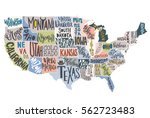 usa map with states   pictorial ... | Shutterstock .eps vector #562723483