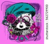 vector raccoon with beret  rose ... | Shutterstock .eps vector #562729900