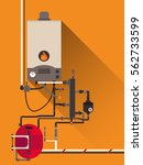 central heating with gas boiler | Shutterstock .eps vector #562733599