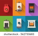gas wood electric fired boilers | Shutterstock .eps vector #562733683