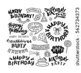 set of happy birthday hand... | Shutterstock .eps vector #562734373