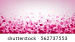 Stock vector love valentine s banner with pink hearts vector illustration 562737553