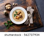 cream soup with porcini... | Shutterstock . vector #562737934