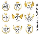 vintage weapon emblems set.... | Shutterstock .eps vector #562739218
