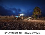 tractor preparing land with...   Shutterstock . vector #562739428