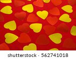 Red And Yellow Hearts On Red...