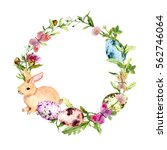 easter wreath with easter bunny ...   Shutterstock . vector #562746064