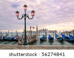 Sunset on the Grand Canal in Venice, Italy. - stock photo
