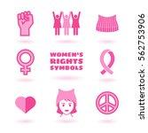 feminist symbols set promoting...   Shutterstock .eps vector #562753906