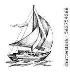 sailing boat vector hand drawn... | Shutterstock .eps vector #562754266