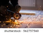 cutting metal with angle... | Shutterstock . vector #562757560