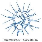 stack of business hands ... | Shutterstock .eps vector #562758316