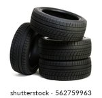 car tires isolated on white | Shutterstock . vector #562759963