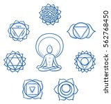 set of the 8 ayurveda chakra... | Shutterstock .eps vector #562768450