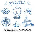 set of ayurveda symbols of yoga ... | Shutterstock .eps vector #562768468