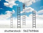 businessman climbing stairs...   Shutterstock . vector #562769866
