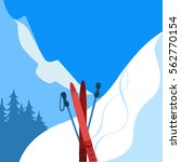 mountains and ski equipment....   Shutterstock .eps vector #562770154