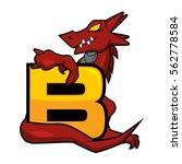 red dragon holding letter b | Shutterstock .eps vector #562778584